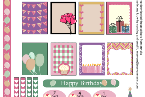 Free Printable Birthday Sampler Sticker Kit for Erin Condren Life Planner