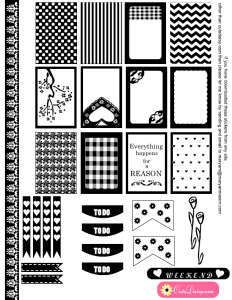 free printable black and white stickers for happy Planner