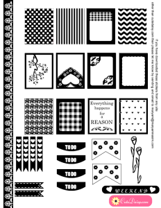 Black and White Stickers for Erin Condren Boxes