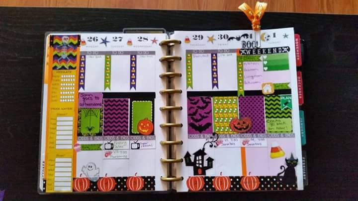 purple and green halloween stickers used in planner