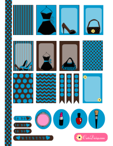 Fashionista stickers for Erin Condren and Happy Planner in Blue & Brown