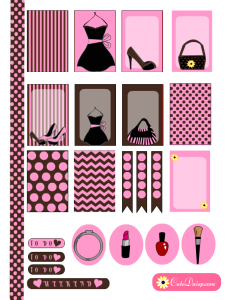 Fashion themed stickers for Erin Condren and Happy Planner in Pink & Brown