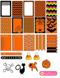Free Printable Halloween Planner Stickers In Orange and Black