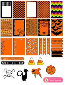 Free Printable Halloween Planner Stickers In Orange and Black