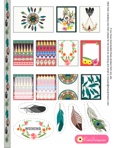 Free Printable Tribal Aztec Boho Stickers Sampler Kit for Erin Condren Life Planner ( ECLP )