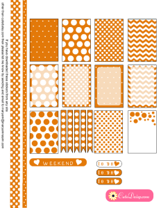 Free Printable Planner box stickers in Tangerine Color