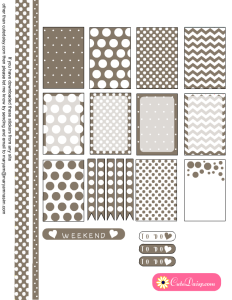 Free Printable Planner Stickers with Polka Dots in Taupe Color