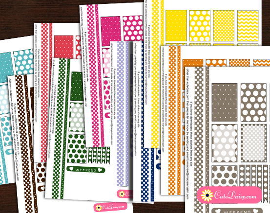 Free Printable Planner Stickers with Poka Dots in 10 Colors