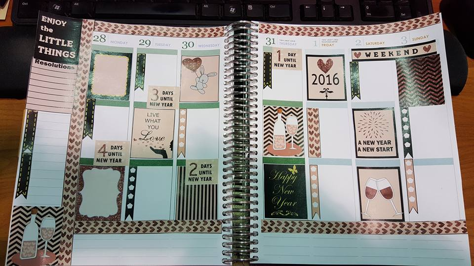 new year planner stickers used in planner layout