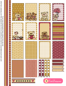 Free Printable Teddy Bears Stickers for Planner Boxes
