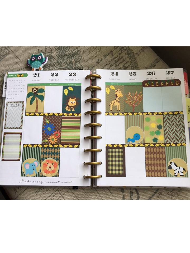Jungle animal stickers used in planner