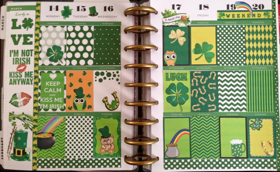 Saint Patrick Day's stickers used in Planner Layout