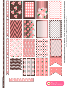 Free Printable Shabby Chic Stickers in Pink and Brown