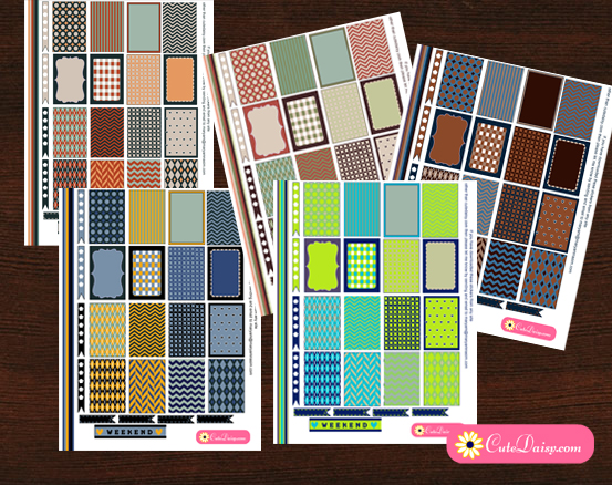 Free Printable Happy Planner Stickers in 5 color Combinations