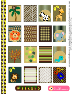 Jungle and Safari themed Stickers for Erin Condren Vertical Planner