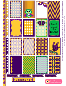 Free Printable Mardi Gras Stickers for Happy Planner
