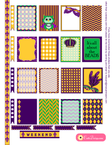 Free Printable Mardi Gras Stickers for Erin Condren Life Planner