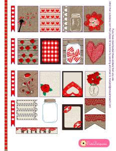Valentine's Day Rustic Stickers for Erin Condren Life Planner (ECLP)