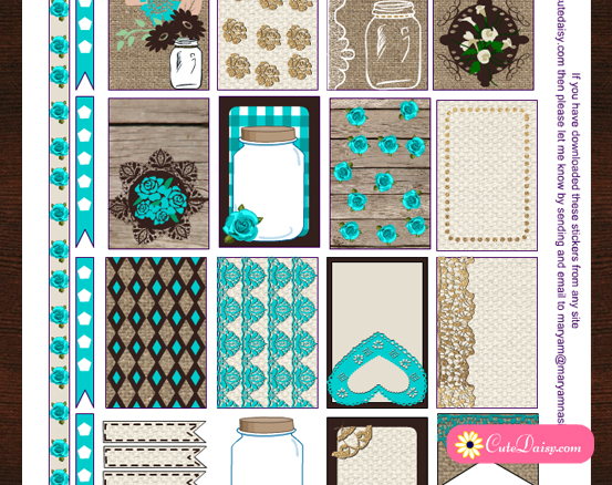 free printable rustic stickers for Happy Planner and ECLP