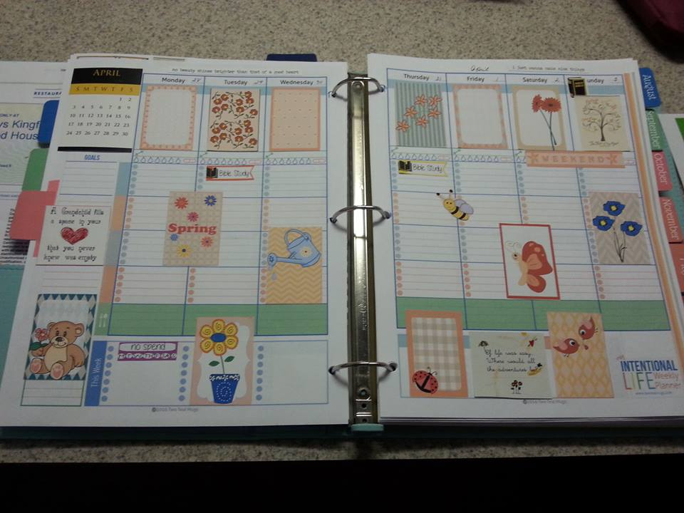 spring themed stickers used in planner