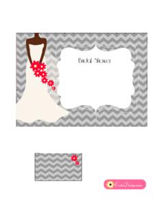 African-American Bridal Shower Invitation Printable in Grey