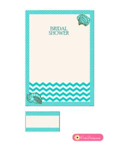 Beach Bridal Shower Invitation in Aqua Color