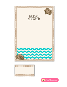 Printable Beach Bridal Shower Invitation in Brown Color