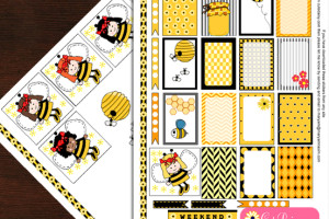 Free Printable Honey Bee themed Stickers