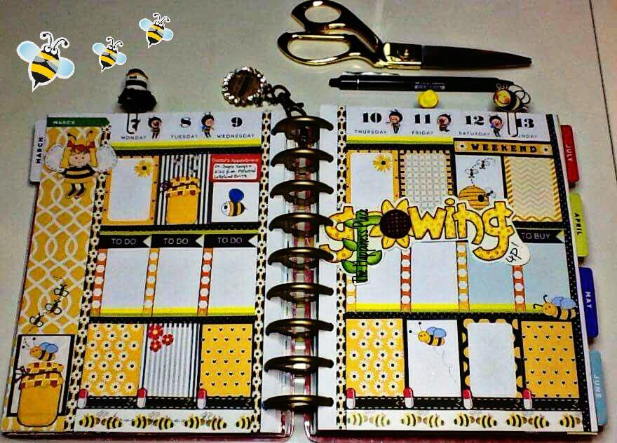 honey bee stickers planner layout