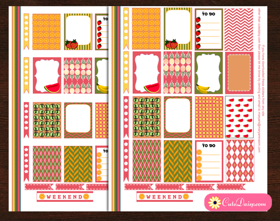Free Printable Cute Fruit themed Stickers Kit