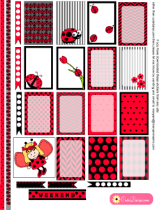 Free Printable Ladybug Stickers for Happy Planner