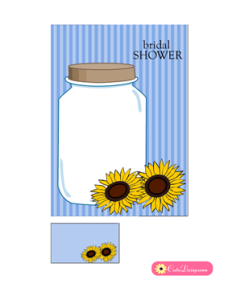 Bridal Shower Invitation Printable featuring Sun Flowers in Blue Color