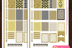 Free Printable music themed stickers for Happy planner and ECLP
