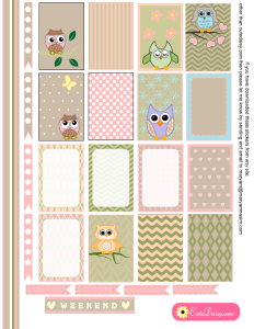 Free Printable Owl Stickers for Happy Planner