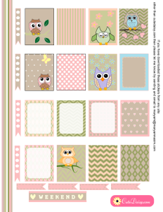 Free Printable Owl Stickers for ECLP