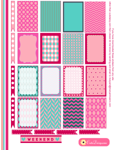 Free Printable Stickers for Happy Planner in Spring Colors