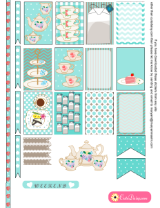 English Tea themed Stickers in Light Blue Color