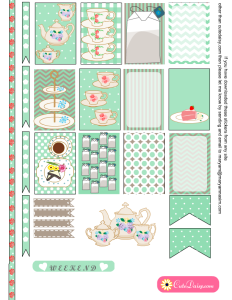 English Tea themed Planner Stickers in Mint Color