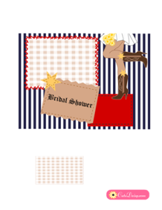Country or Western Bridal Shower Invitation in Blue Color