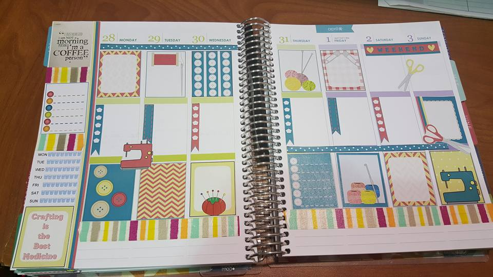 Crafts stickers used in planner
