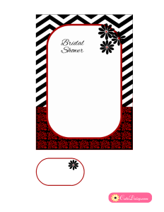 Black and Red Bridal Shower Invitation with Chevron and Roses