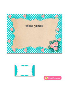 Free Printable Vintage Bridal Shower Invitation in Aqua Color