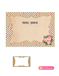 Vintage Bridal Shower Invitation in Brown Color