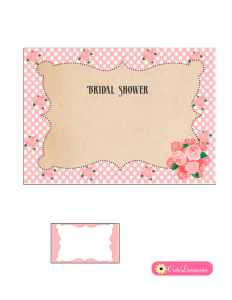Vintage Bridal Shower Invitation in Pink Color