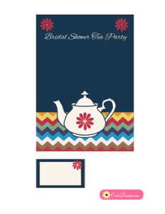 Bridal Shower Tea Party Invitation Template in Blue Color