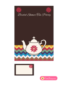 Bridal Shower Tea Party Invitation Template in Brown Color