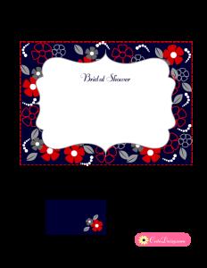 Free Printable Floral Bridal Shower Invitation Blue
