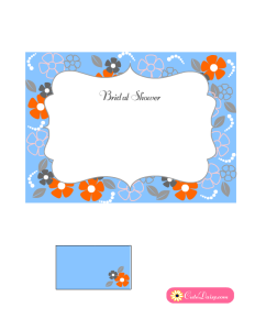 Bridal Shower Invitation with Flowers in Light Blue Color