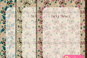 Bridal Shower Invitation Templates featuring Paisley Design