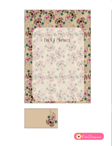 Paisley Bridal Shower Invitation in Fawn and Pink Colors